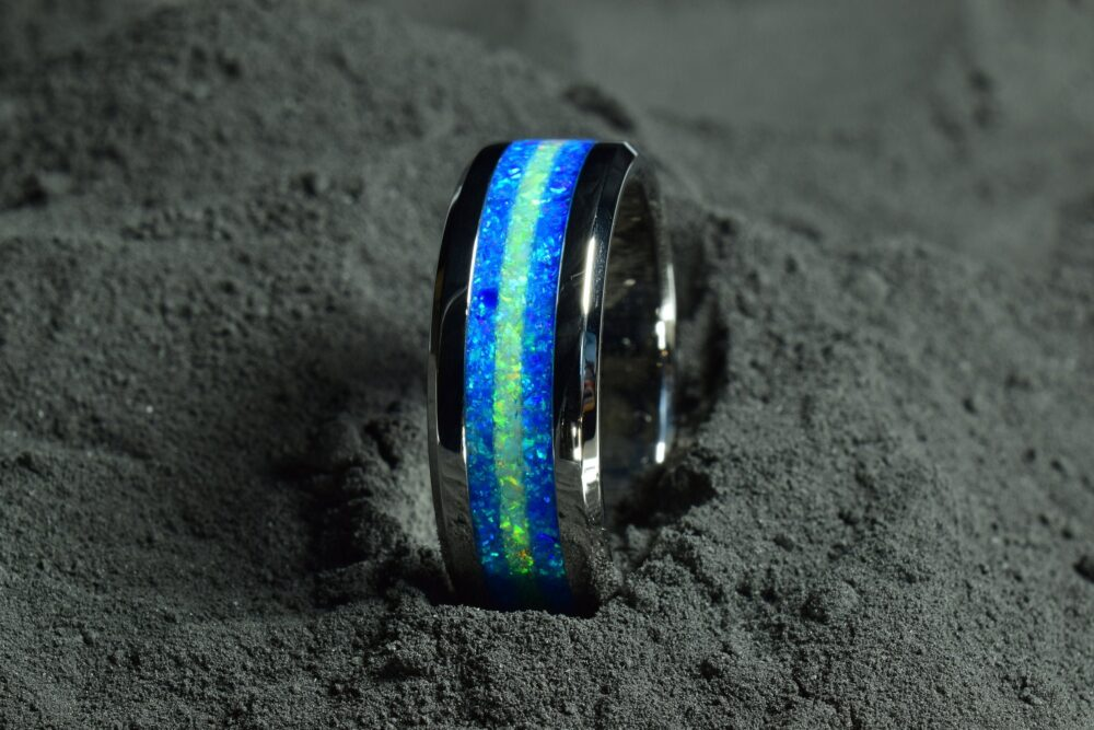 Wedding Ring, Stainless Steel Ring With Crushed Royal Blue & Light Green Opal, 8 Mm