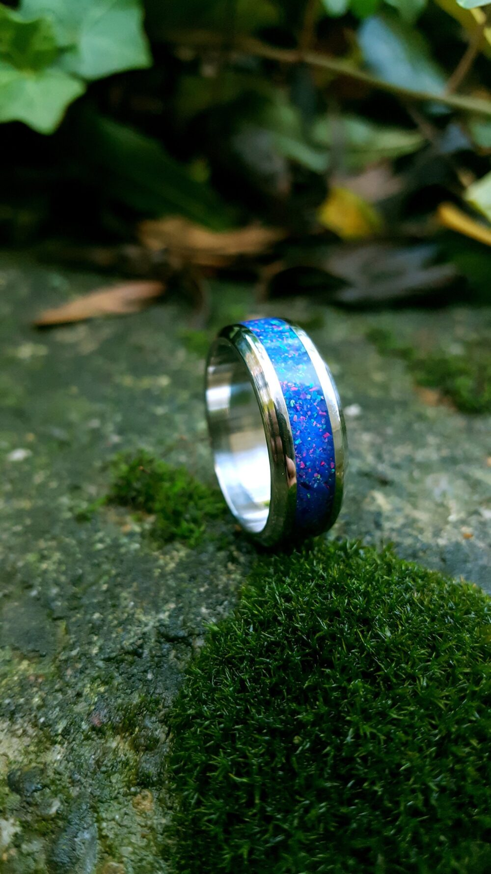 Wedding Ring, Stainless Steel Ring With Crushed Dark Blue Opal