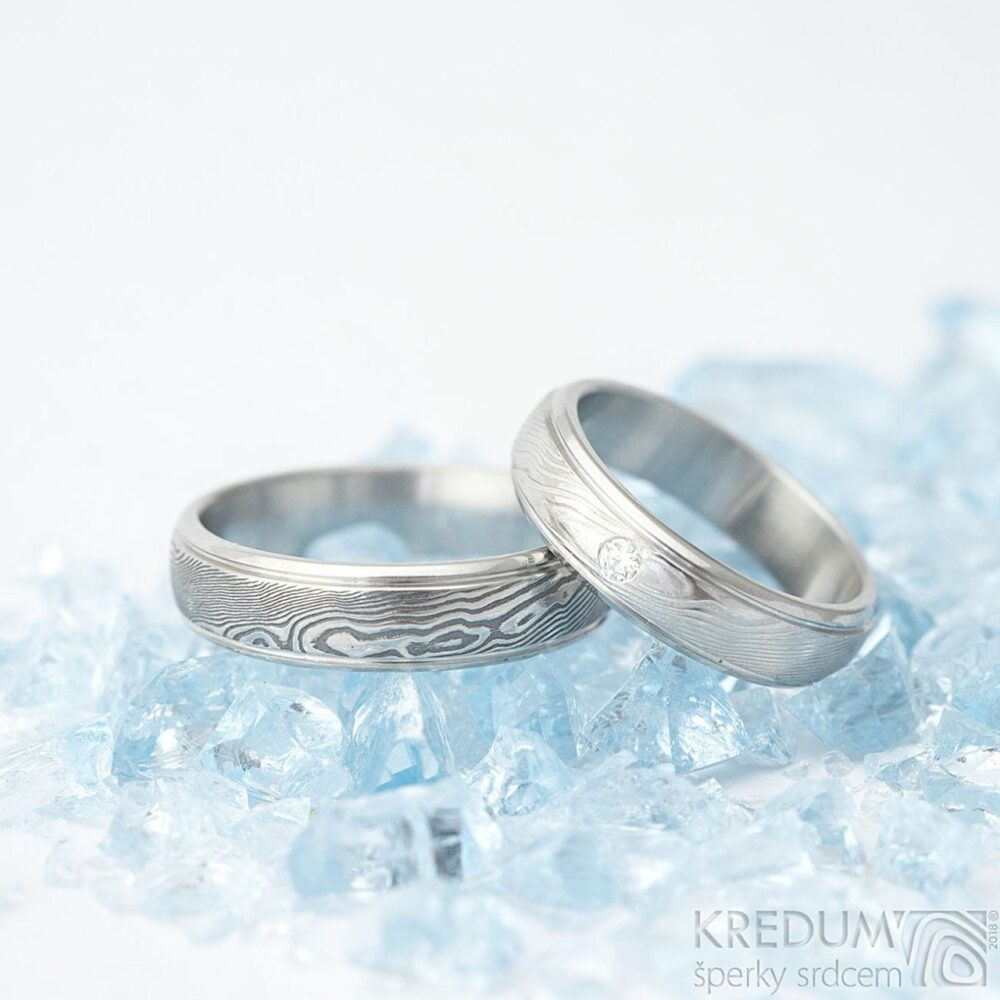 Reserved Listing - Diamond Simple Wedding Band Handmade Damascus Stainless Steel Ring Kasiopea With 3 Diamonds