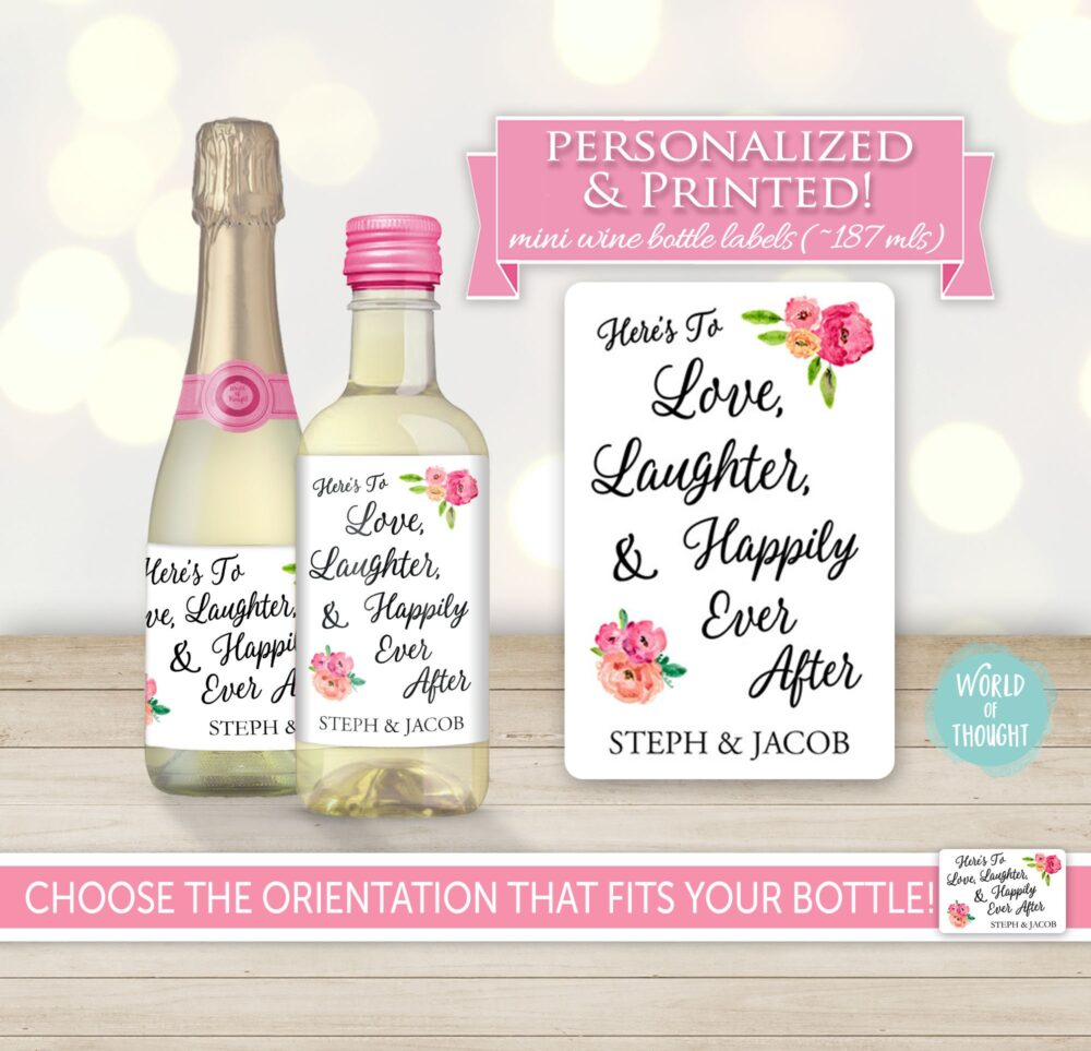 Custom Wedding Favor Love Laughter Happily Ever After Thank You Mini Wine Bottle Label - Personalized Sticker Fairy Tale Engagement 0015