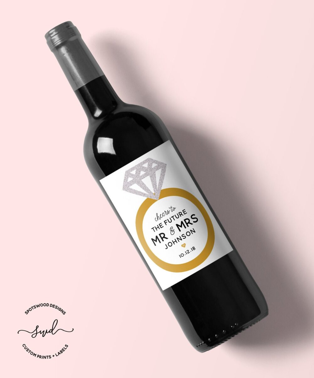 Future Mr. & Mrs. Custom Wedding Wine Label. Engagement Gift. Party Decorations. Favors. Newly Engaged. Label