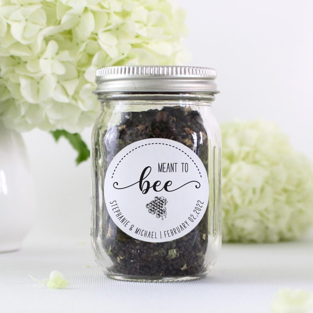 Meant To Bee Wedding Favor Sticker, Honey Thank You Label, Personalized Sweet Jar Gift Label