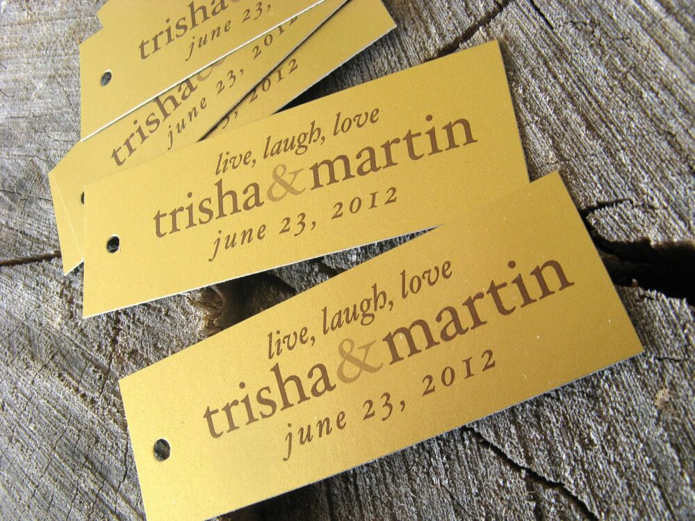 Gold Wedding Rectangle Favor Tags - Vintage Thank You Tags Metallic Gift Set Of 50