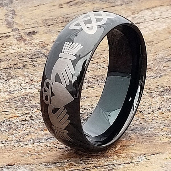 Black Claddagh Ring, Tungsten Wedding Band, Celtic Knot Ring