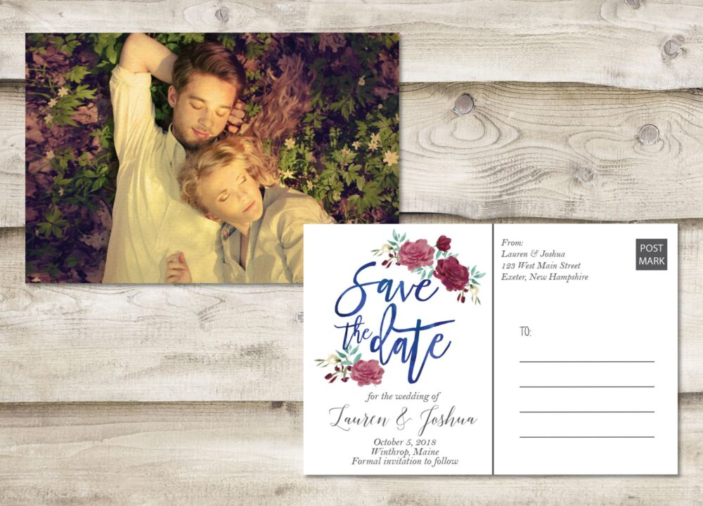Floral Rustic Save The Date Postcard, Postcard The Date, Photograph Card