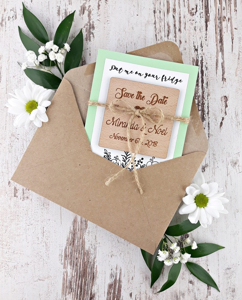 Wooden Save The Date Magnet, Floral Card, Rustic Date, Wedding Invitation, Favors For Guests