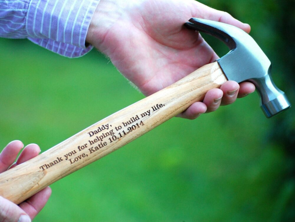 Wedding Father Of The Bride Gift Personalized Hammer Groom Engraved Custom Keepsake Country