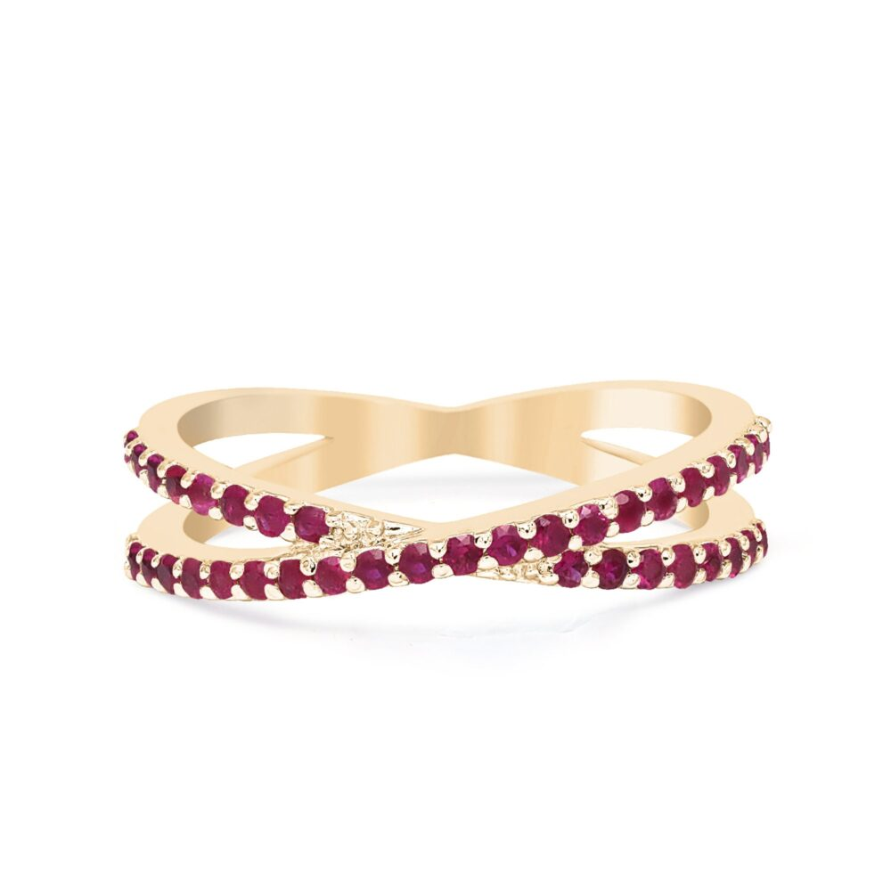 Pave Ruby Band/14K Gold Wedding Band/Criss Cross Band/x Shape Ruby Ring/Real Ring/July Birthstone Ring/Graduation Gift/Birthday