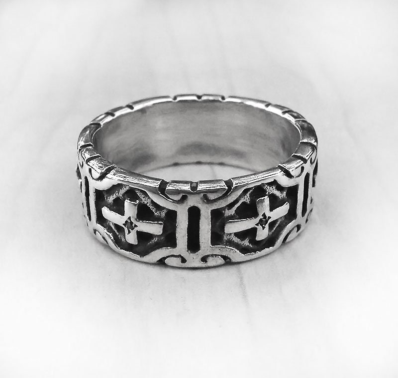 Cross Band Men, Mens Wedding Ring, Ring Silver Religious Jewelry, Gift Band, Onyx
