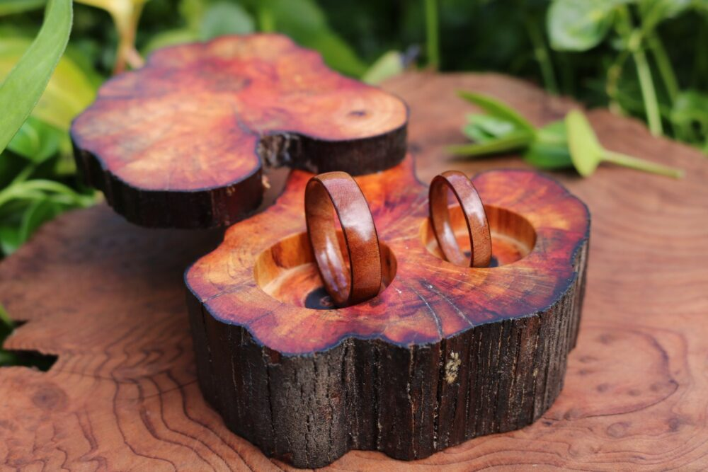 Wood Ring, Madrone Wedding Band Ring Set, Wood Case, Band, Burl For Women, Wooden Bands, Madrone Set Hoop
