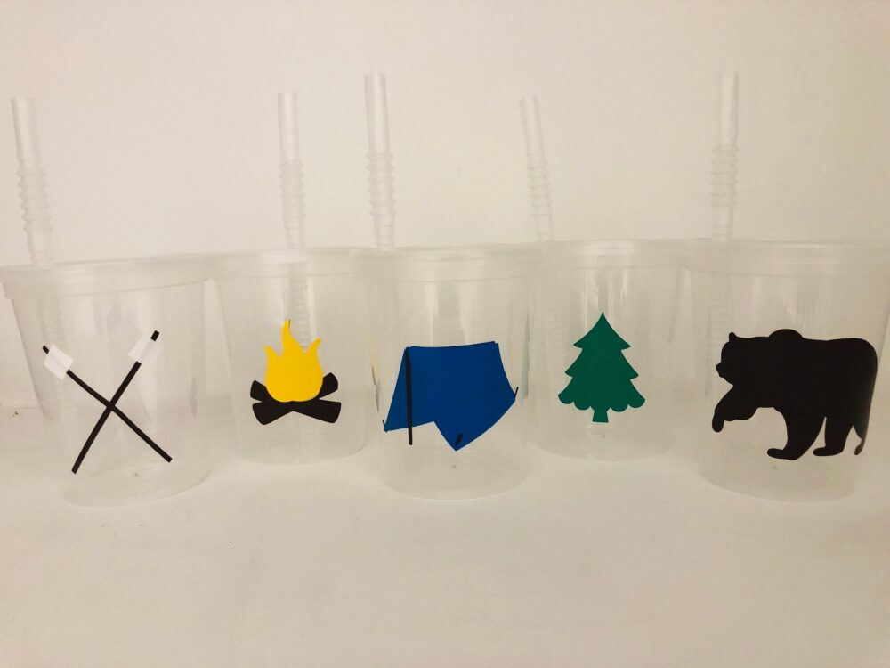 Camping Party Favors, Birthday Cups, Smore Bear Cups, Outdoor Tent Adventure