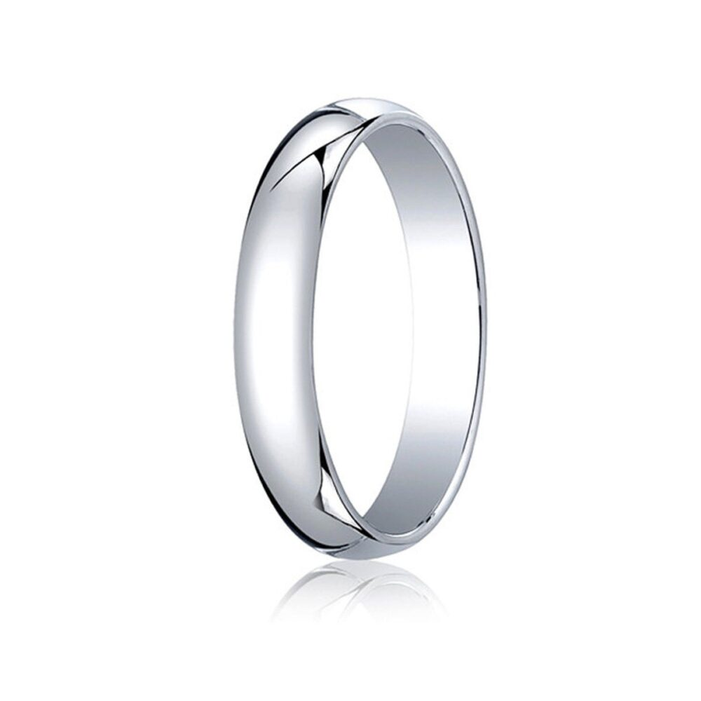 4mm Wide Domed 10K White Gold Band Men's Or Women's Basic Wedding Ring With Custom Engraving Half Round Classic Style
