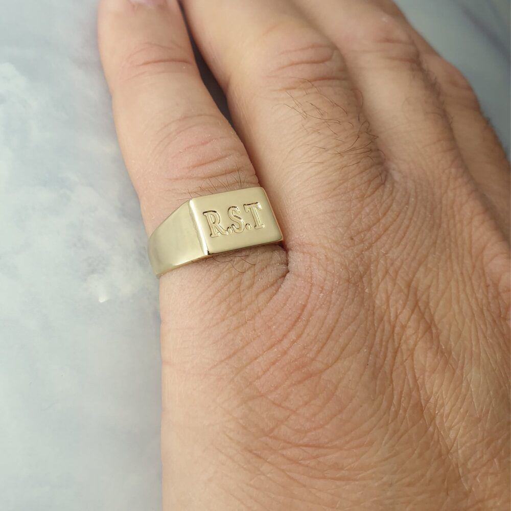 Men's Pinky Ring Engraved With Initial Letters, Custom Rectangle Signet For Men, Personalized Jewelry Gifts Men