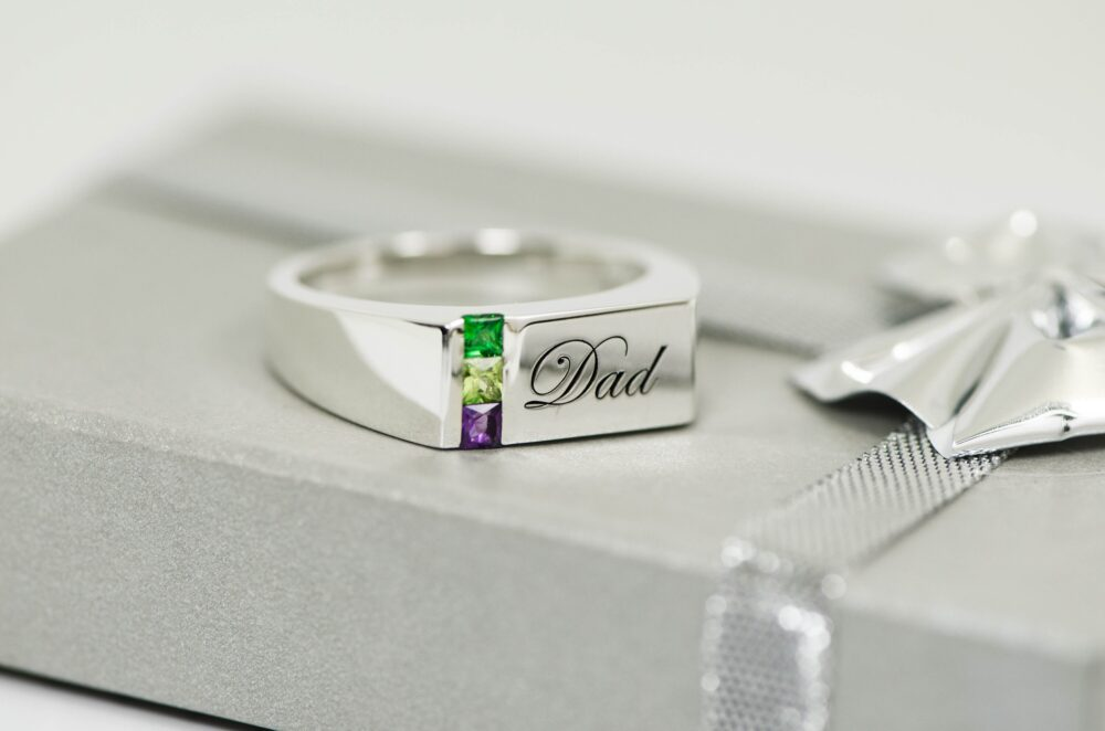 Men's Personalized Birthstone Father's Grandfather's Family Ring Sterling Silver Solid Or 14K Gold 1 To 6 Stones Opt Engraved Mens Signet