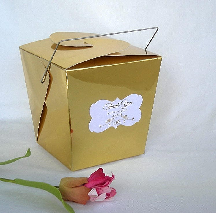 Chinese Takeout Box Personalized Wedding Favor Boxes Gold Silver Pink Aqua Assembled Custom Birthday W Tag