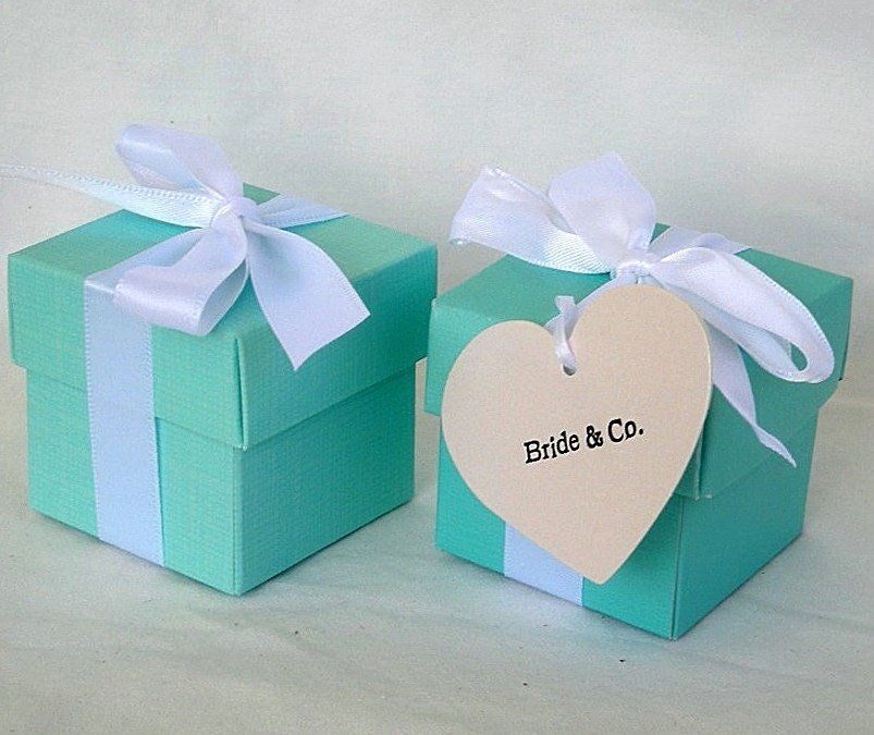 Wedding Favor Boxes Box Teal Turquoise Blue Favors Aqua Shower 2 X Piece With Lids & Ribbon Custom Any Color