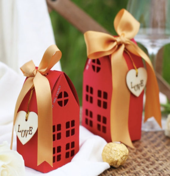 20Box Little House Wedding Favor Boxes, Gift Box, Mutliple Color Box, Birthday Candy Box, Chocolate Box, Free Name Place Card B277
