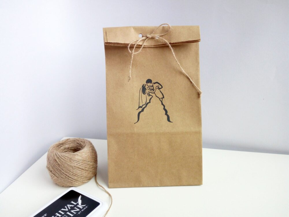 Paper Favor Bags, Bags For Guests Gift, Craft Rustic Stamp Paper Bridal Shower Wrapped, Party Decor With Bride & Groom