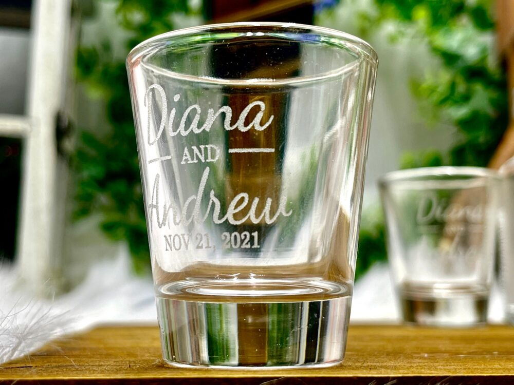 Personalized Wedding Favor Shot Glasses Engraved With Bride & Groom Names Date