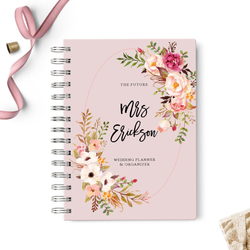 Wedding Planner Book, Event Planning Organizer, 6x8.75, Unique Gift For The Bride, Budget, Seating Chart Checklists, To Do List, Blush Pink