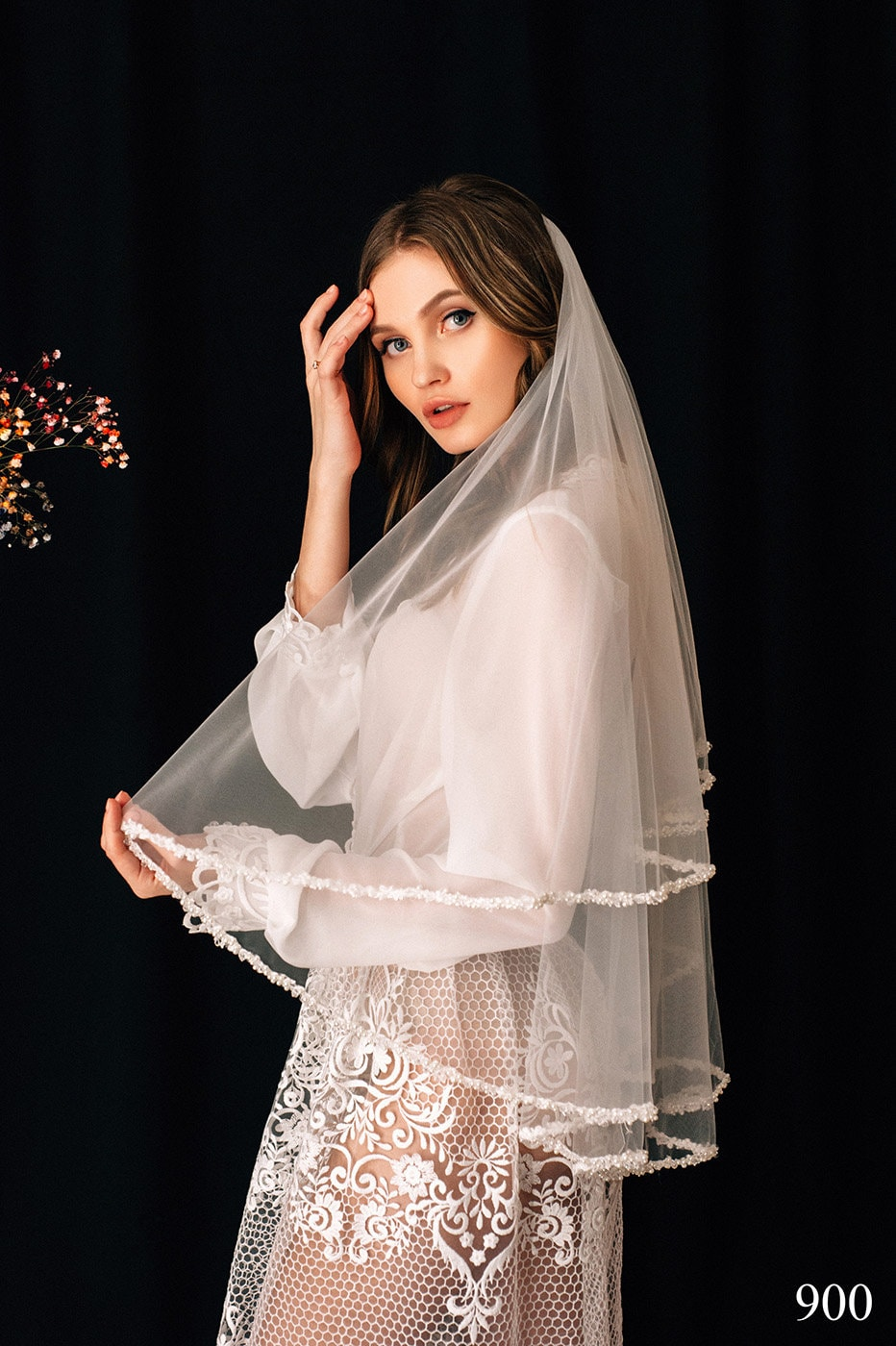 Wedding Veil Ember, Bridal Veil, Chapel Cathedral Veil , Tulle Cathedral Length, With Comb, One Tier