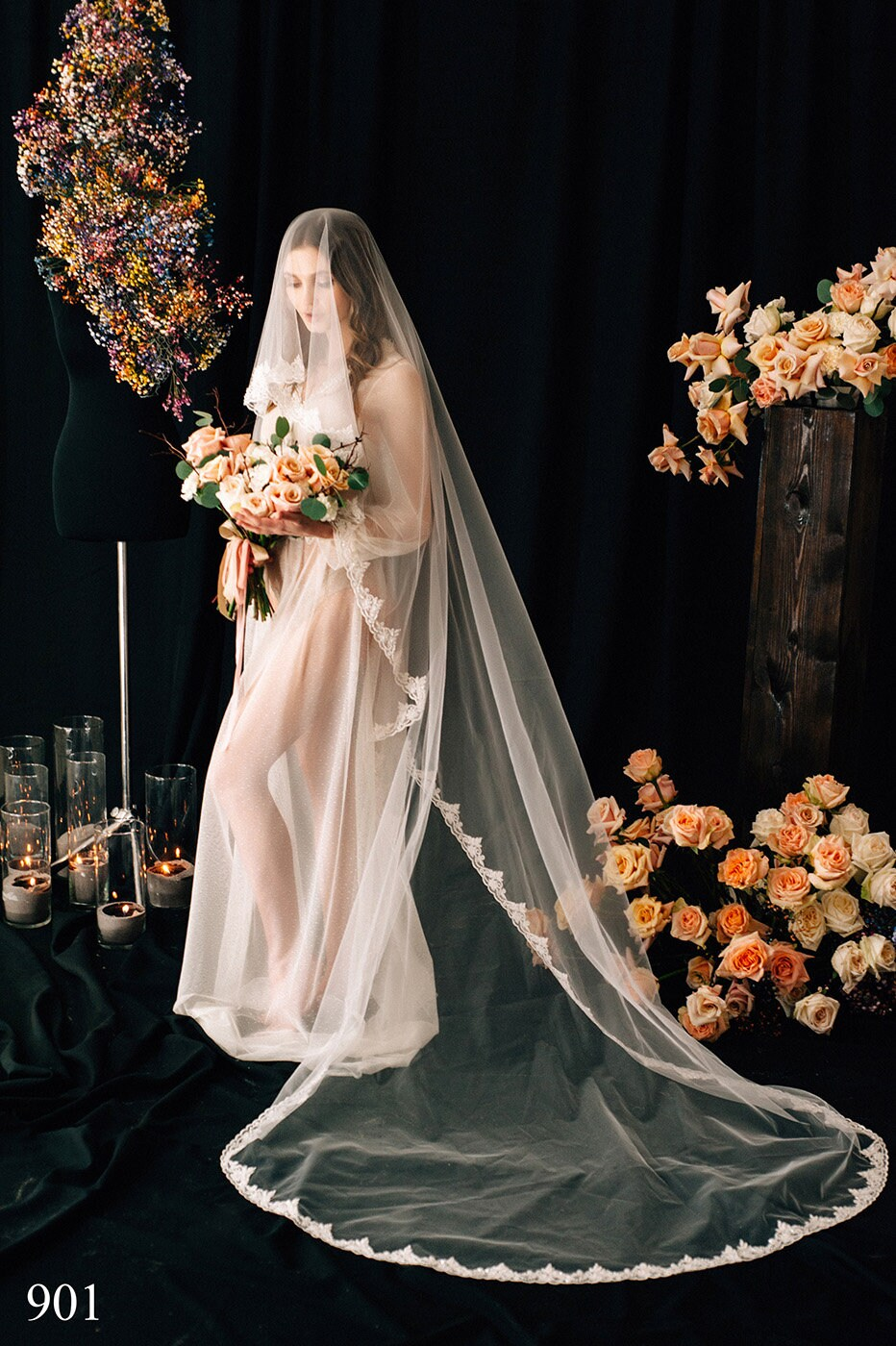 Wedding Veil Kaia, Bridal Veil, Chapel Cathedral Veil , Tulle Cathedral Length, With Comb, One Tier