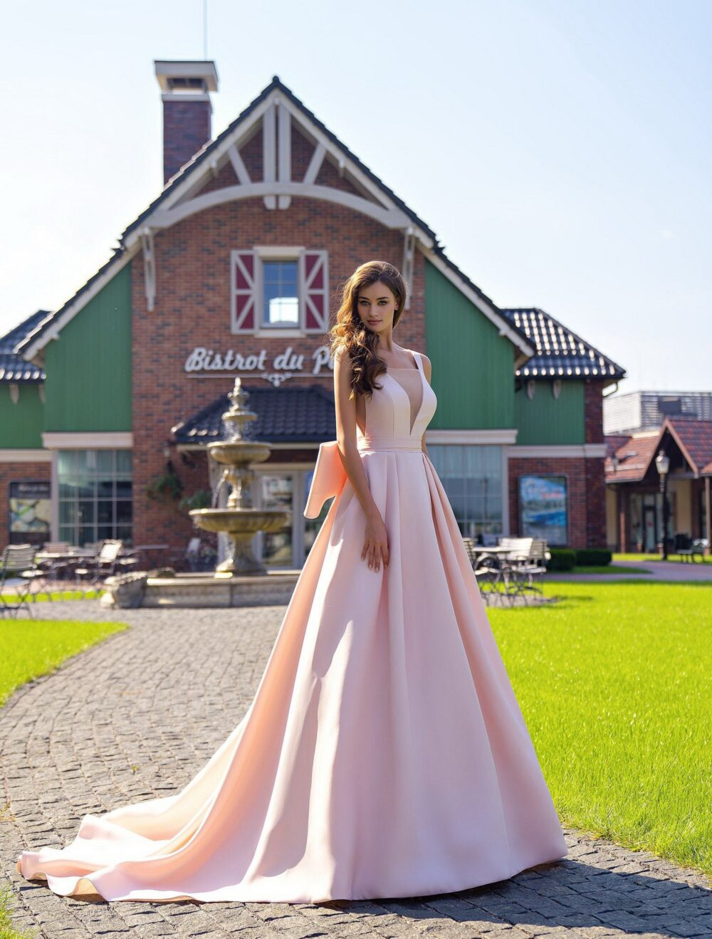 Pink Powder Wedding Dress, A-Line Bridal Gown, V-Neck Backless Simple Style Deep Dress, Cute Ball Gown