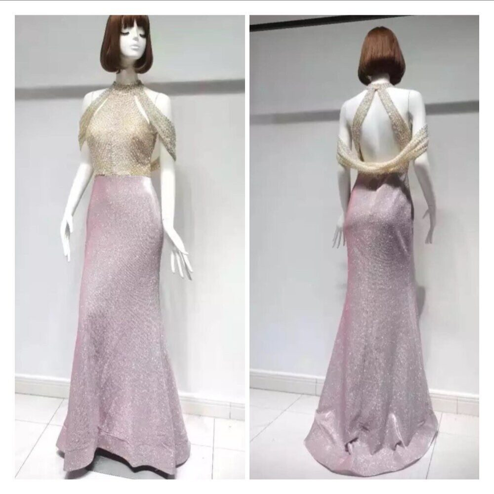 Haute Couture Blush Pink Wedding Dress - Crystal Dress-Pink Sparkle Red Carpet Dress-Heavy Beads Crystals Gown
